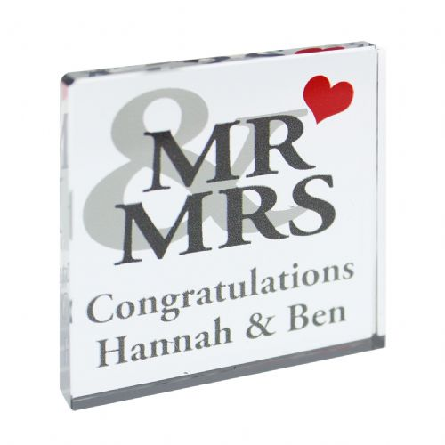 Personalised Mr & Mrs Small Crystal Token